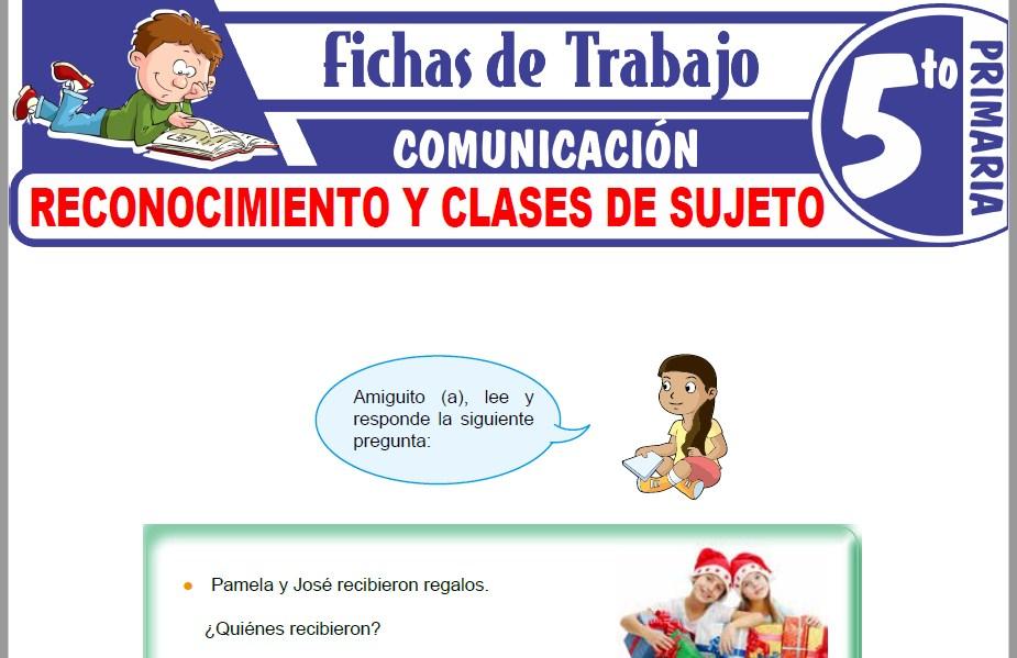 Modelos de la Ficha de Reconocimiento y clases de sujeto para Quinto de Primaria