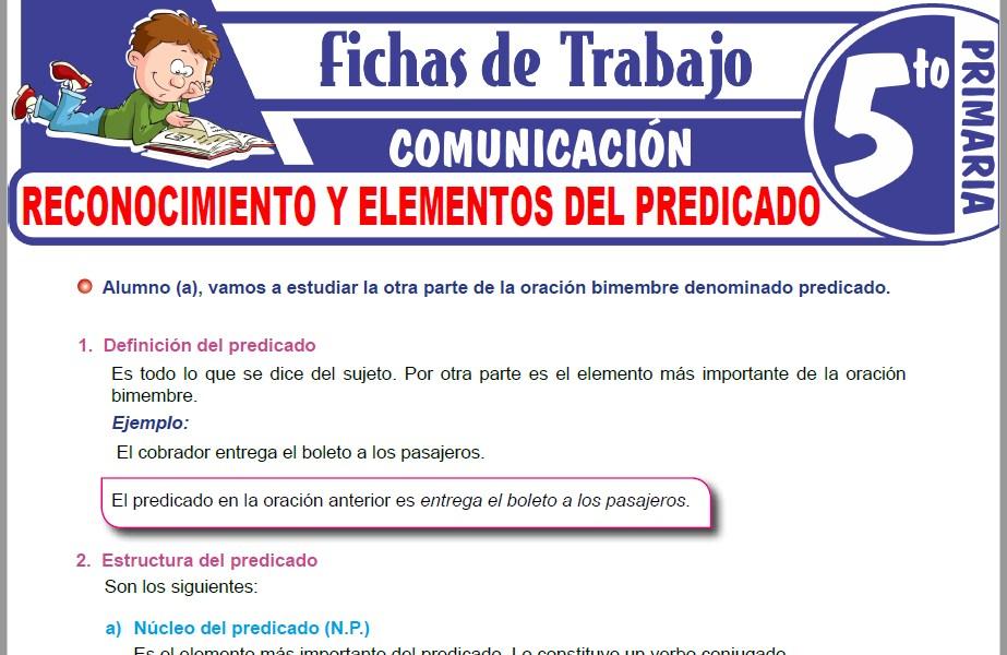 Modelos de la Ficha de Reconocimiento y elementos del predicado para Quinto de Primaria