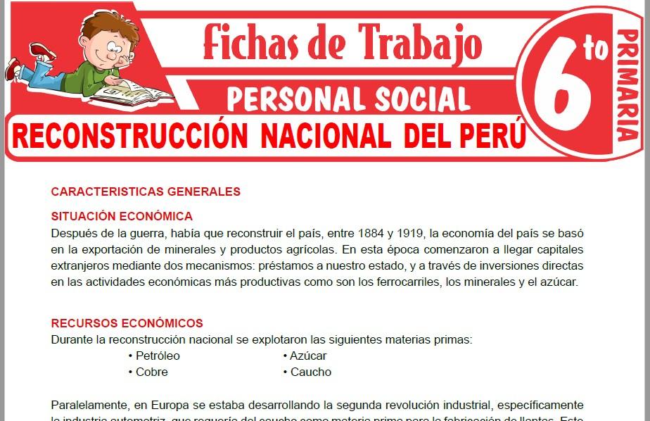 Modelos de la Ficha de Reconstrucción nacional del Perú para Sexto de Primaria