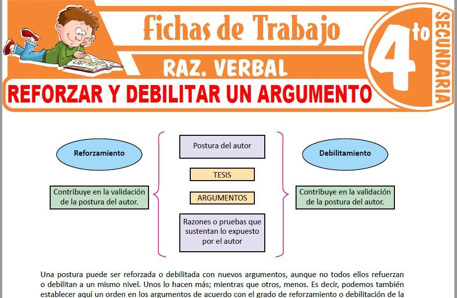 Modelos de la Ficha de Reforzar y debilitar un argumento para Cuarto de Secundaria