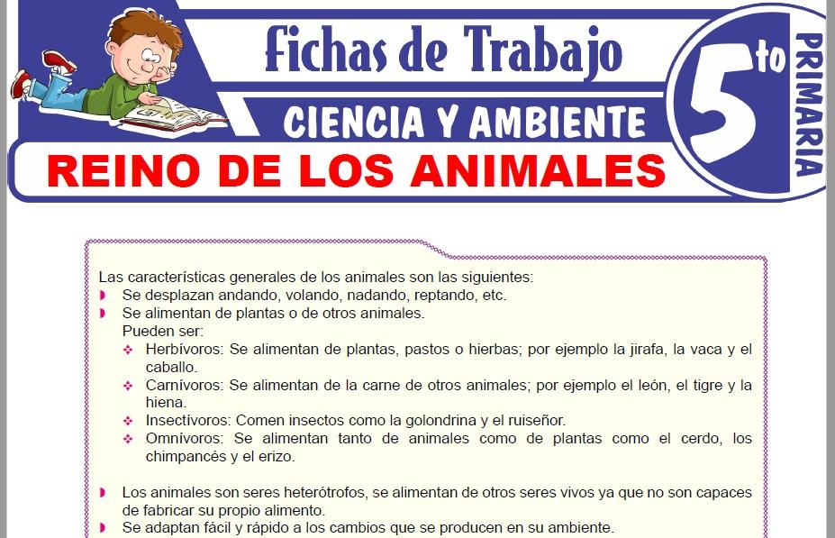 Modelos de la Ficha de Reino de los animales para Quinto de Primaria