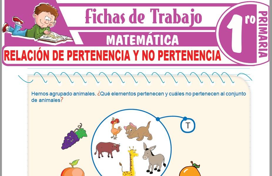 Modelos de la Ficha de Relación de pertenencia y no pertenencia para Primero de Primaria