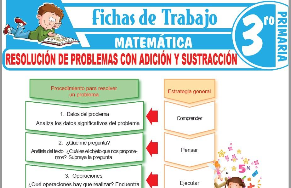 Modelos de la Ficha de Resolución de problemas con adición y sustracción para Tercero de Primaria
