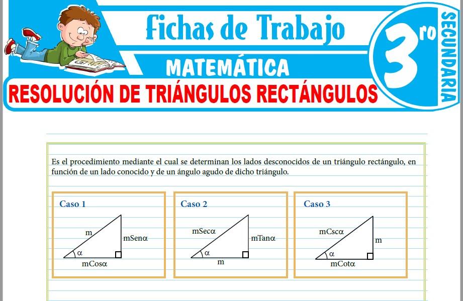Modelos de la Ficha de Resolución de triángulos rectángulos para Tercero de Secundaria