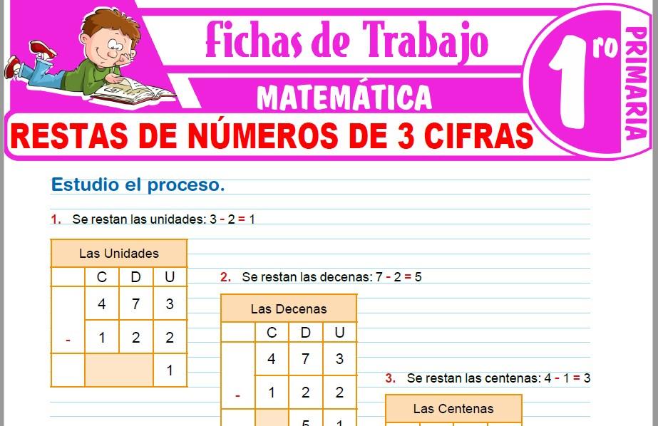Modelos de la Ficha de Restas de números de 3 cifras para Primero de Primaria