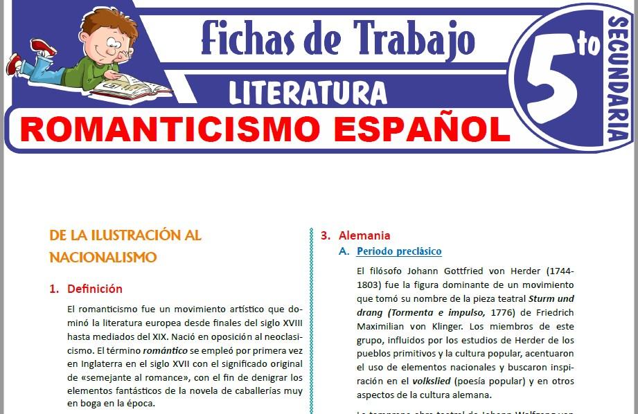 Modelos de la Ficha de Romanticismo español para Quinto de Secundaria