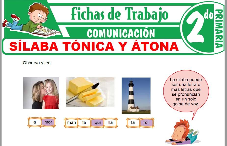 Modelos de la Ficha de Sílaba tónica y átona para Segundo de Primaria