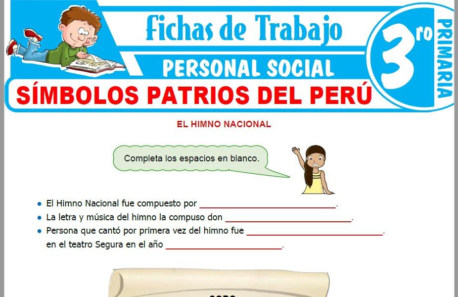 Modelos de la Ficha de Símbolos patrios del Perú para Tercero de Primaria