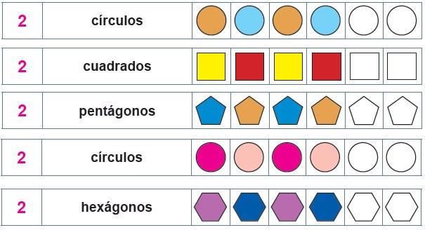 Modelos de la Ficha de Tamaños y formas geométricas para Segundo de Primaria