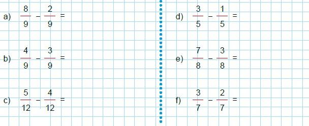 Modelos de la Ficha de Operaciones básicas con fracciones de igual denominador para Tercero de Primaria