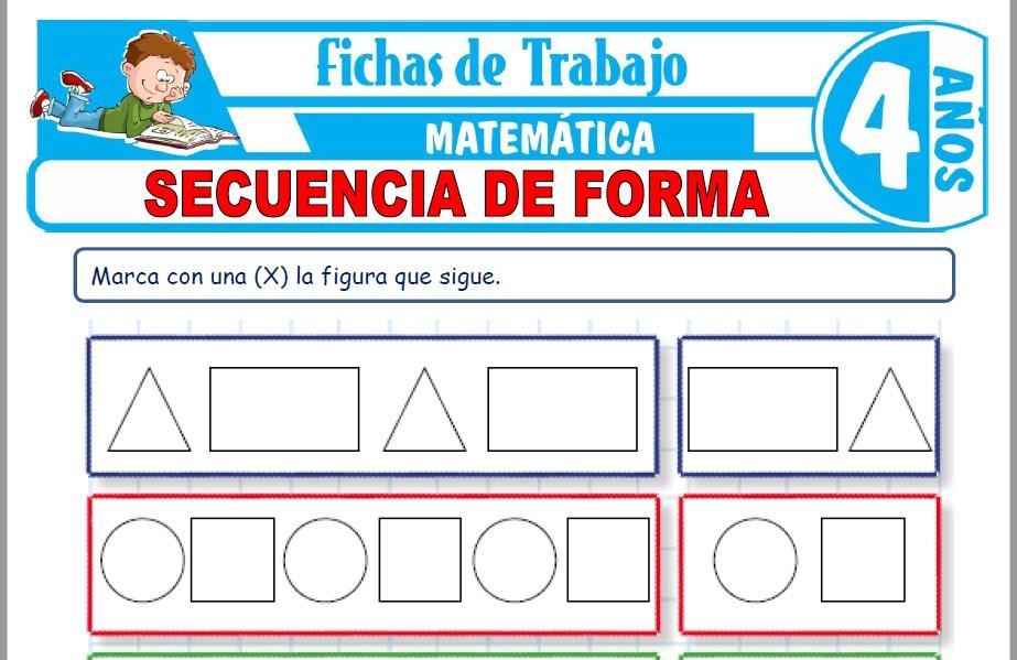 Modelos de la Ficha de Secuencia de forma para Niños de Cuatro Años