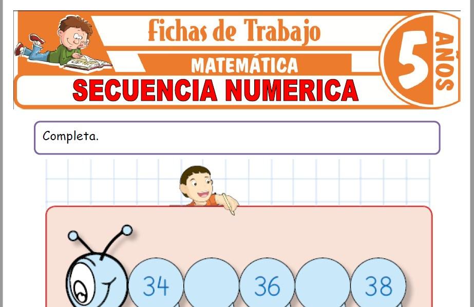 Modelos de la Ficha de Secuencia numérica para Niños de Cinco Años