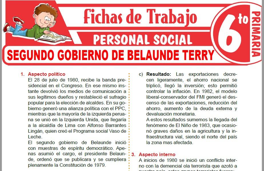 Modelos de la Ficha de Segundo gobierno de Belaunde Terry para Sexto de Primaria