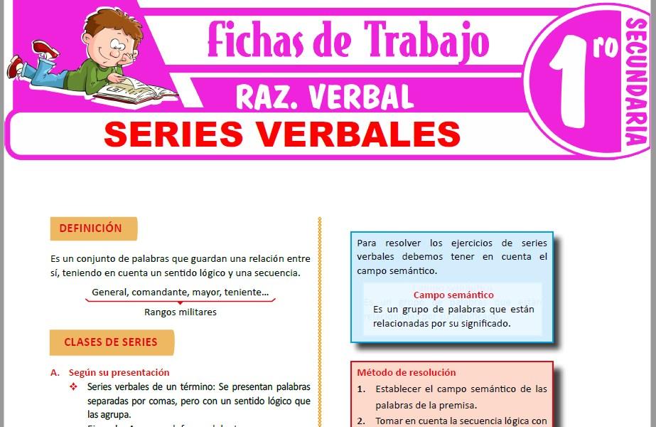 Modelos de la Ficha de Series verbales para Primero de Secundaria