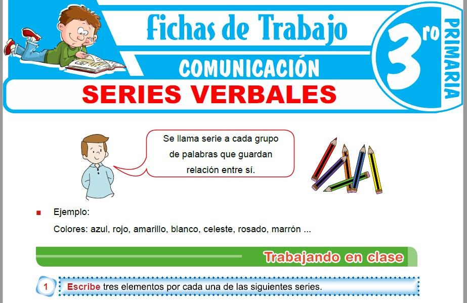 Modelos de la Ficha de Series verbales para Tercero de Primaria