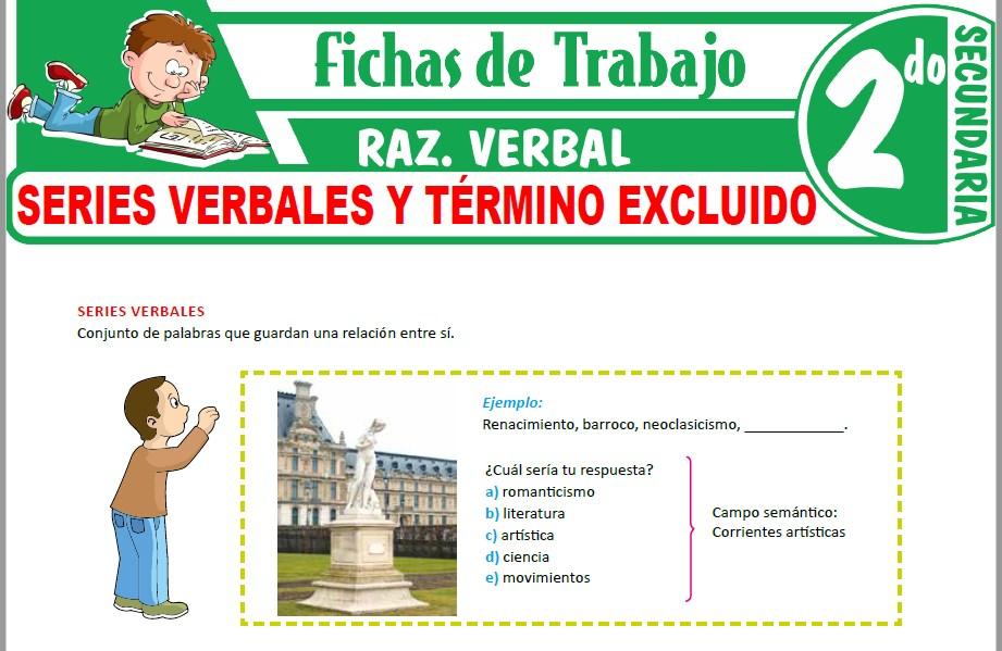 Modelos de la Ficha de Series verbales y término excluido para Segundo de Secundaria