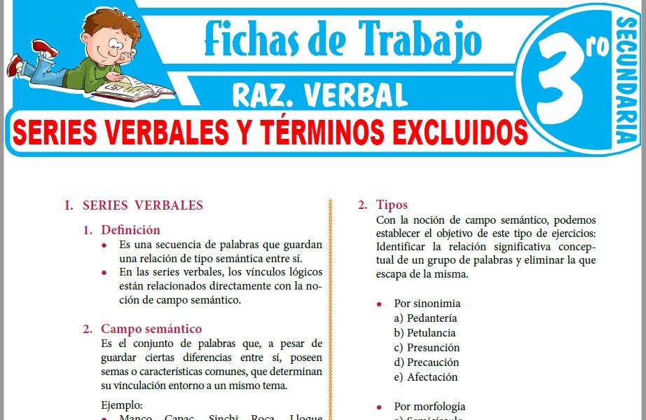 Modelos de la Ficha de Series verbales y términos excluidos para Tercero de Secundaria