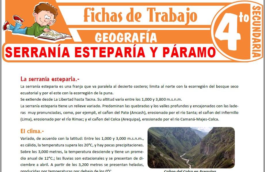 Modelos de la Ficha de Serranía esteparía y páramo para Cuarto de Secundaria