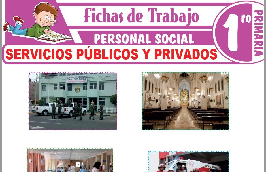 Modelos de la Ficha de Servicios públicos y privados para Primero de Primaria