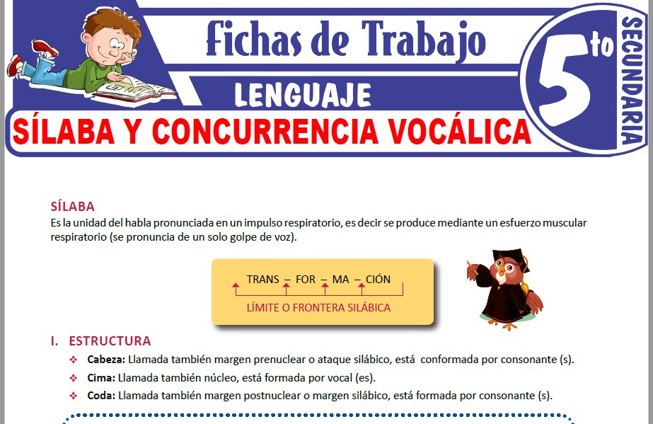 Sílaba y concurrencia vocálica para Quinto de Secundaria
