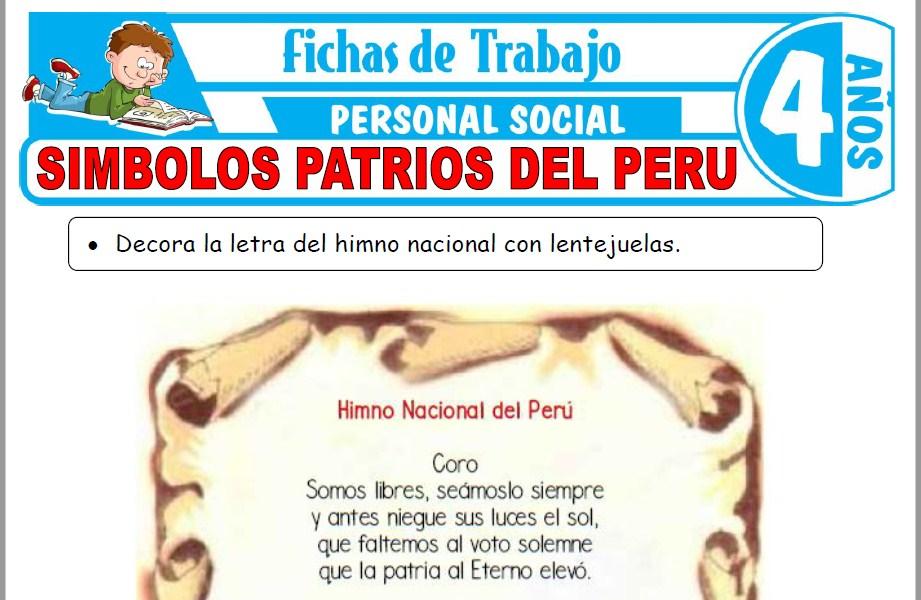 Modelos de la Ficha de Símbolos patrios del Perú para Niños de Cuatro Años