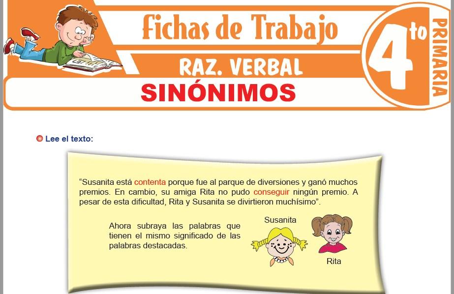 Modelos de la Ficha de Sinónimos para Cuarto de Primaria