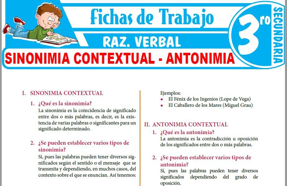 Modelos de la Ficha de Sinonimia contextual y antonimia contextual para Tercero de Secundaria