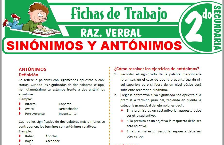 Modelos de la Ficha de Sinónimos y Antónimos para Segundo de Secundaria