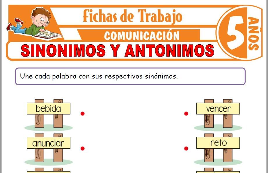 Modelos de la Ficha de Sinónimos y antónimos para Niños de Cinco Años