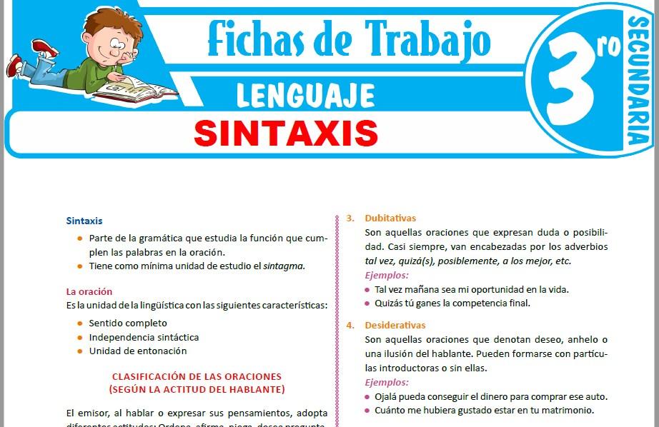 Modelos de la Ficha de Sintaxis para Tercero de Secundaria