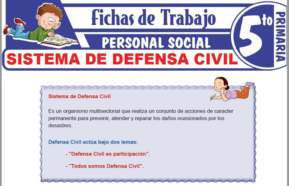 Modelos de la Ficha de Sistema de Defensa Civil para Quinto de Primaria