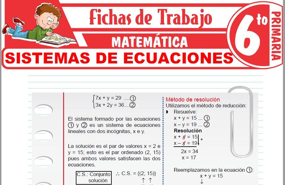Modelos de la Ficha de Sistemas de ecuaciones para Sexto de Primaria