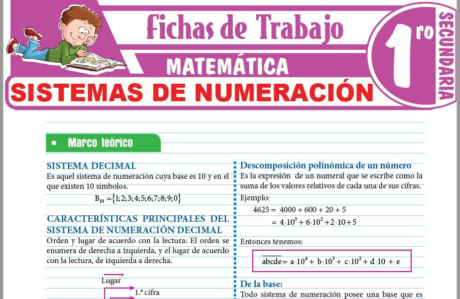 Modelos de la Ficha de Sistemas de numeración para Primero de Secundaria