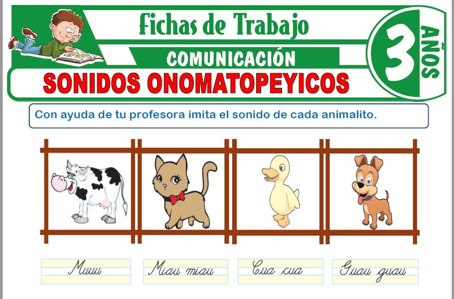 Modelos de la Ficha de Sonidos onomatopéyicos para Niños de Tres Años