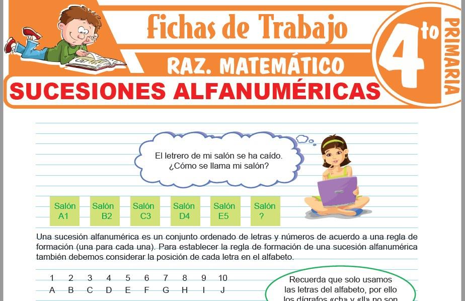 Modelos de la Ficha de Sucesiones alfanuméricas para Cuarto de Primaria