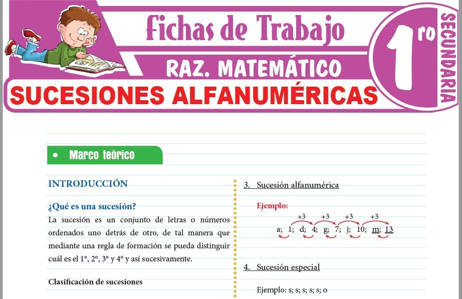 Modelos de la Ficha de Sucesiones alfanuméricas para Primero de Secundaria