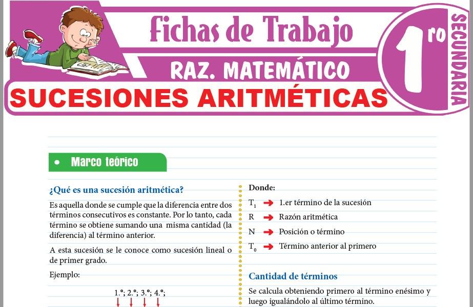 Modelos de la Ficha de Sucesiones aritméticas para Primero de Secundaria
