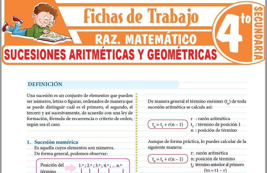 Modelos de la Ficha de Sucesiones aritméticas y geométricas para Cuarto de Secundaria