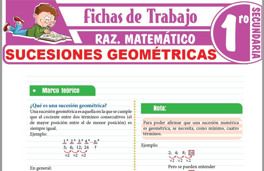 Modelos de la Ficha de Sucesiones geométricas para Primero de Secundaria