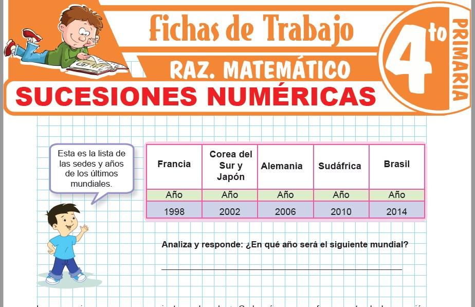 Modelos de la Ficha de Sucesiones numéricas para Cuarto de Primaria
