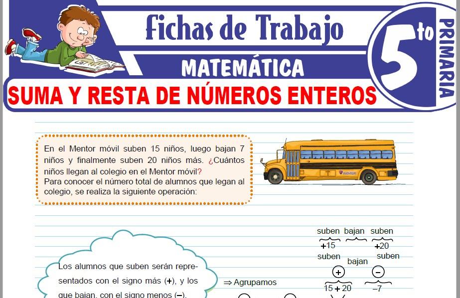 Modelos de la Ficha de Suma y resta de números enteros para Quinto de Primaria