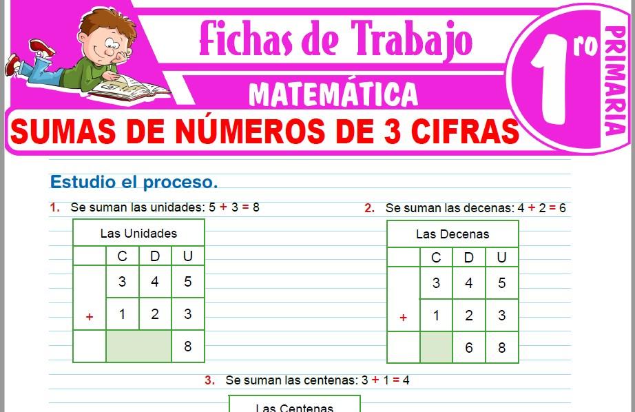 Modelos de la Ficha de Sumas de números de 3 cifras para Primero de Primaria