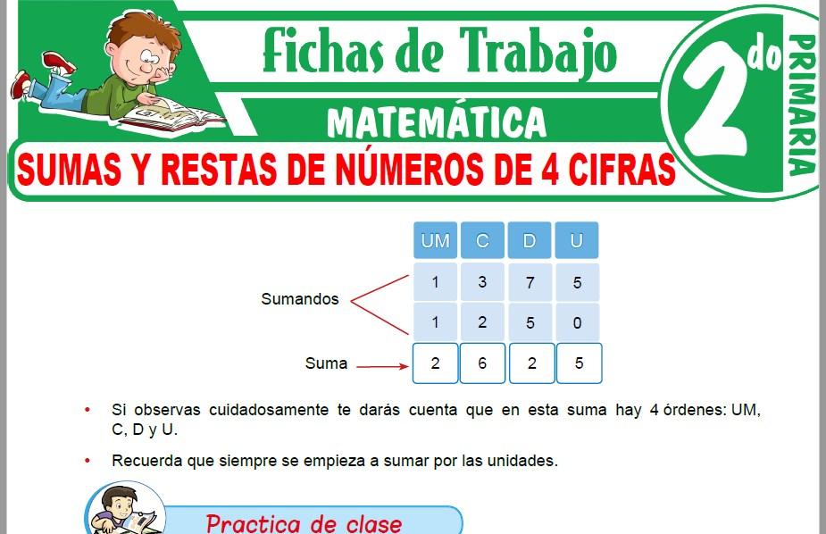 Modelos de la Ficha de Sumas y restas de números de 4 cifras para Segundo de Primaria