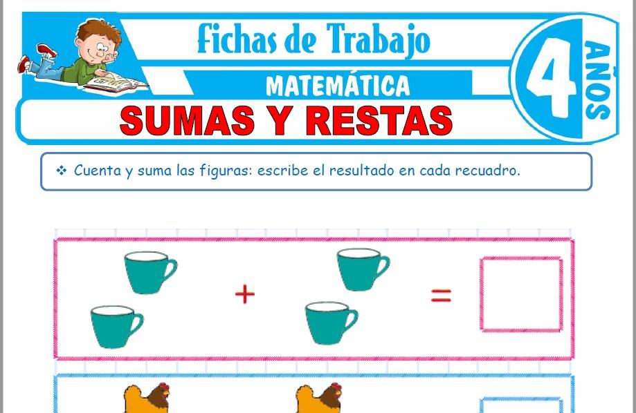 Modelos de la Ficha de Sumas y restas para Niños de Cuatro Años