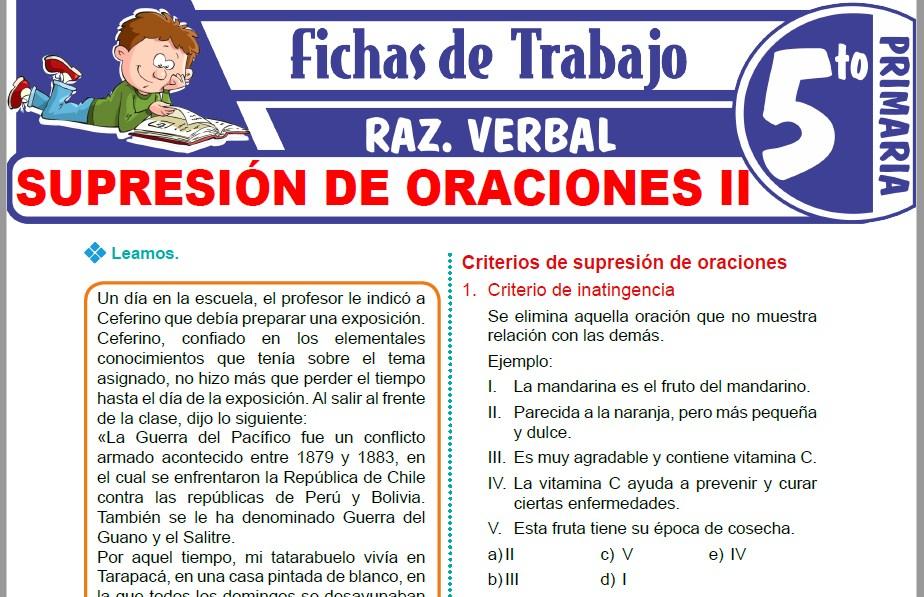 Modelos de la Ficha de Supresión de oraciones II para Quinto de Primaria