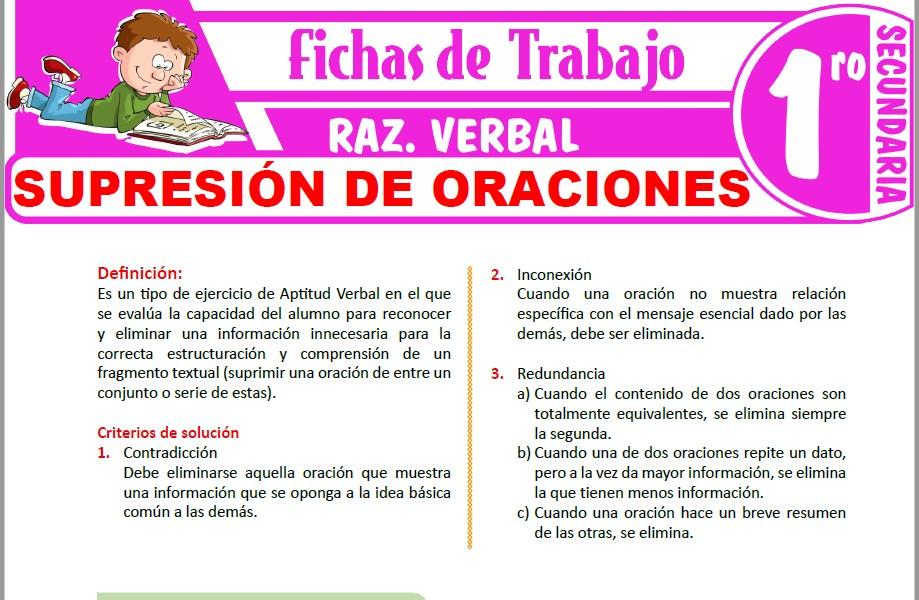 Modelos de la Ficha de Supresión de oraciones para Primero de Secundaria