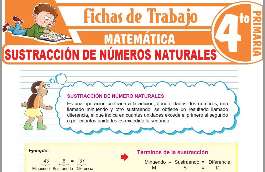 Modelos de la Ficha de Sustracción de números naturales para Cuarto de Primaria