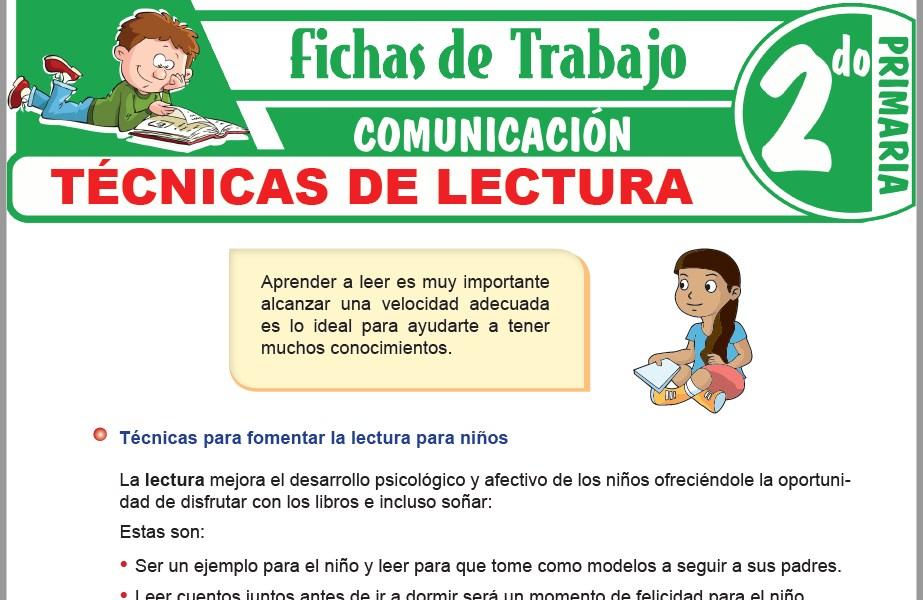 Modelos de la Ficha de Técnicas de lectura para Segundo de Primaria