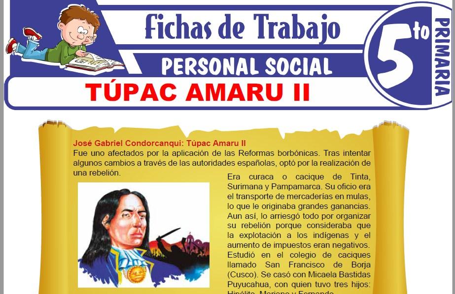 Modelos de la Ficha de Túpac Amaru II para Quinto de Primaria