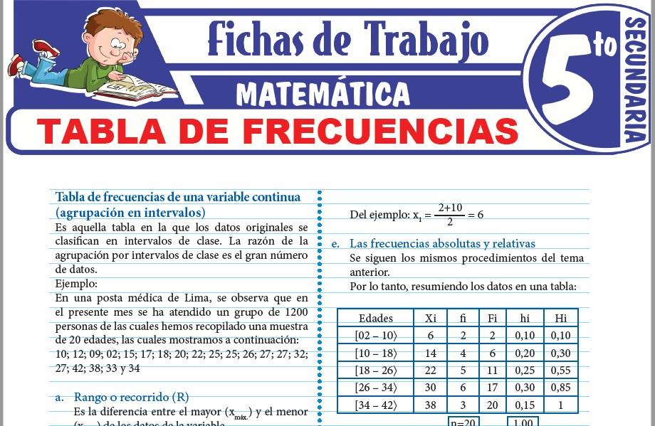 Modelos de la Ficha de Tabla de frecuencias para Quinto de Secundaria